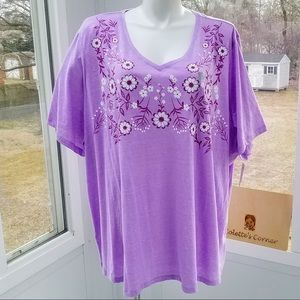 Lilac Heather Floral Embroidered V-Neck Tee